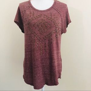 LUCKY BRAND LIGHT PURPLE TOP WITH EMBELLISHMENTS